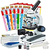 AmScope 40X-1000X Compound Monocular Student Microscope Set + Slide Preparation Kit + Science Experiment Cards