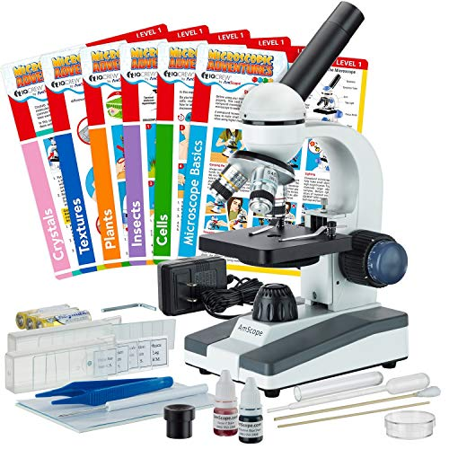 AmScope 40X-1000X Compound Monocular Student Microscope Set + Slide Preparation Kit + Science Experiment Cards
