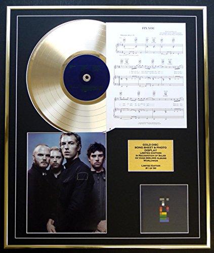 COLDPLAY/ CD GOLD DISC UND PHOTO UND SONG SHEET DISPLAY/LIMITIERTE AUFLAGE/COA/ALBUM X&Y/SONG SHEET FIX YOU