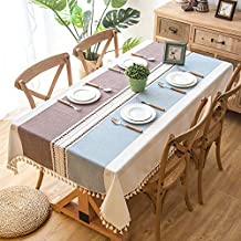 Simple embroidery lace cotton and linen small fresh fabric tablecloth stripes fringe coffee table pad tablecloth 140 * 100cm