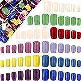 600 Uñas Falsas Artificiales a Presión de Cuadrada Larga Uñas de Ataúd Brillante de Cubierta Completa Juego de Punta de Uña Falsa de Color Sólido con Caja de Almacenaje (Color Elegante)