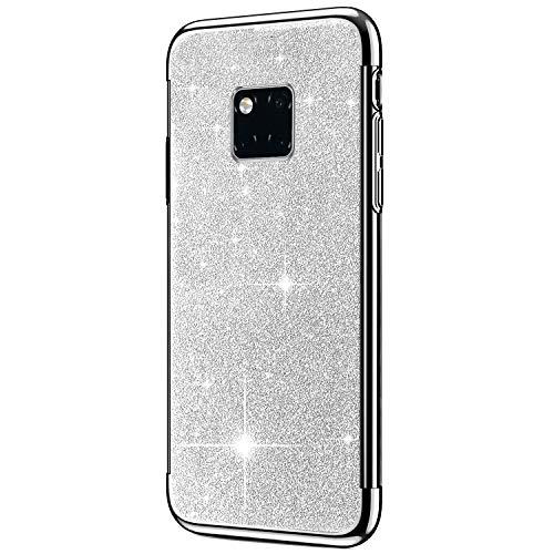 Hpory Cover Huawei Mate 20 Pro, Custodia Huawei Mate 20 Pro - Glitter Brillante Silicone Custodia Morbido Gel TPU Cover Back Case Antiurto Custodia Protettiva Bumper [Shock-Absorption], Argent