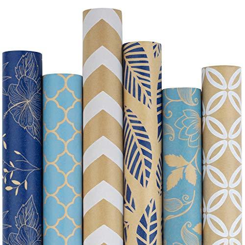 RUSPEPA Kraftpapier-Geschenkpapierrolle - Mehrere Blaue Und Weiße Muster - Ideal Für Glückwünsche, Feiertage, Chanukka-Geschenke Und Besondere Anlässe - 6 Rollen - 76 X 305 cm Pro Rolle