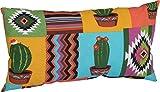 Lounge Zierkissen für Rattan Gartenmöbel Design Mexiko 60 x 40 cm orange gelb türkis