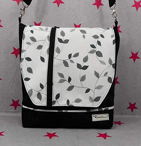 pinkeSterne ☆ Handtasche Umhängetasche VERTICA Blumenranke Schwarz Weiß
