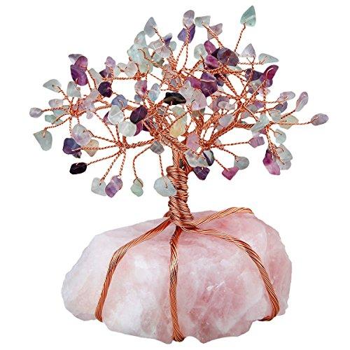 SUNYIK Natural Rainbow Fluorite Money Tree Wrapped on Rose Quartz Cluster Base Bonsai Sculpture Figurine 3.5 Inches