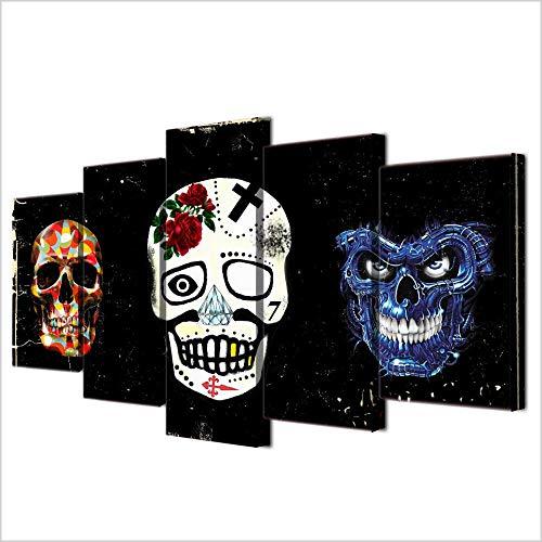 NoBrand schilderij woonkamer decoratie 5-delig doodskop masker poster canvasfoto kunstdruk HD modulair bedrukt foto-30 x 70 x 80 cm zonder lijst