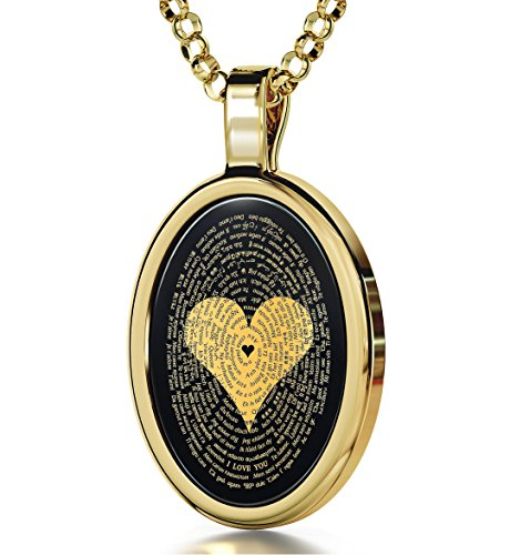 """Nano Jewelry Gold Plated Silver Love Necklace for Women 24k Gold Inscribed with I Love You in 120 Languages Including Braille and Sign Language on Oval Black Onyx Gemstone Pendant, 18"""" Chain"""