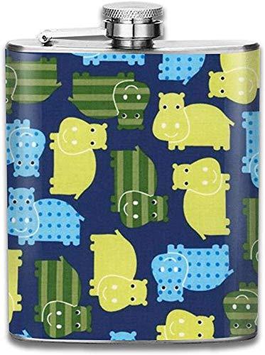 Eybfrre Flask Colorful Cartoon Hippo Pattern Stainless Steel Flask, 7Oz for Men Women