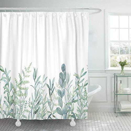 Emvency Fabric Shower Curtain Curtains with Hooks Green Eucalyptus Watercolor Floral Pattern Botanical Artistic Border Botany Bouquet Branch Christmas...