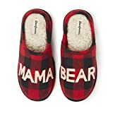 Dearfoams Women's Mama Bear Slipper, Buffalo Plaid, Large