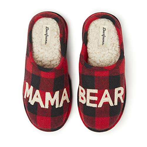 Dearfoams Women's Mama Bear Slipper, Buffalo Plaid, Large