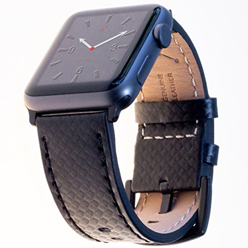 Price comparison product image Carterjett Compatible with Apple Watch Band XL Leather 44mm 42mm Carbon Fiber Dress iWatch Bands Replacement Strap Extra Large for iWatch Series 4 3 2 1 Hermes Edition Sport (42 44 XXL Black)
