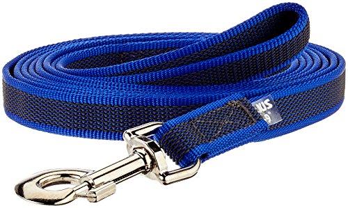 Julius-K9, 216GM-B-S3 Color & Gray Gumierte Leine Blau-Grau 20mm*3 m mit Schlaufe, max. für 50 kg Hunde