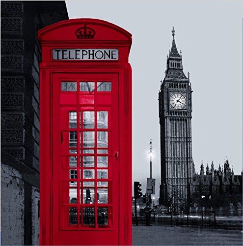 Beddingleer Duschvorhang Anti-schimmel 180x180 cm London Street Landmark Handy Big Ben mit 12 Vorhangringe