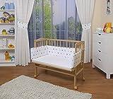 WALDIN Cuna colecho para bebé, cuna para bebé, con protector y colchón, natural sin tratamiento,color textil blanco/estrellas gris-azul