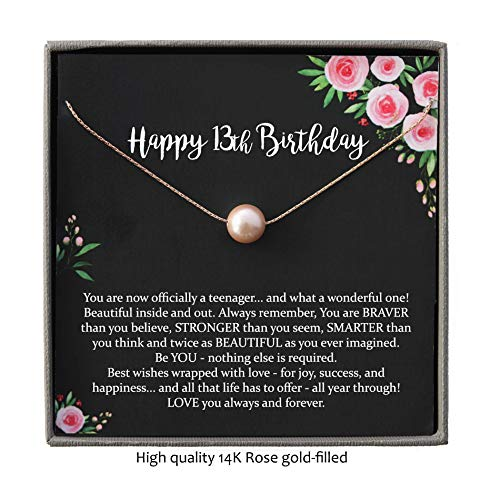 13th Birthday Gifts for Girls, Rose Gold Blush Pearl Necklace with Meaningful Message, 14K Rose Gold Filled