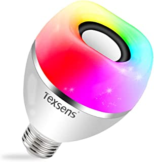 LED Bluetooth Light Bulb Speaker, Texsens Multi-Connected Music Bulbs, 8W E26 RGB + Warm White Color Changing Lamp with APP Control - Play Music Synchronously(1 Pack)