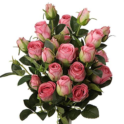 3 Stück Kunstblumen Künstliche Rosen Pflanzen Kunstrosen Rosenstrauss Einzelner Stiel mit 5 Blüten Rosen Hochzeitsdeko Kunstblumen wie Echt, Länge 60cm