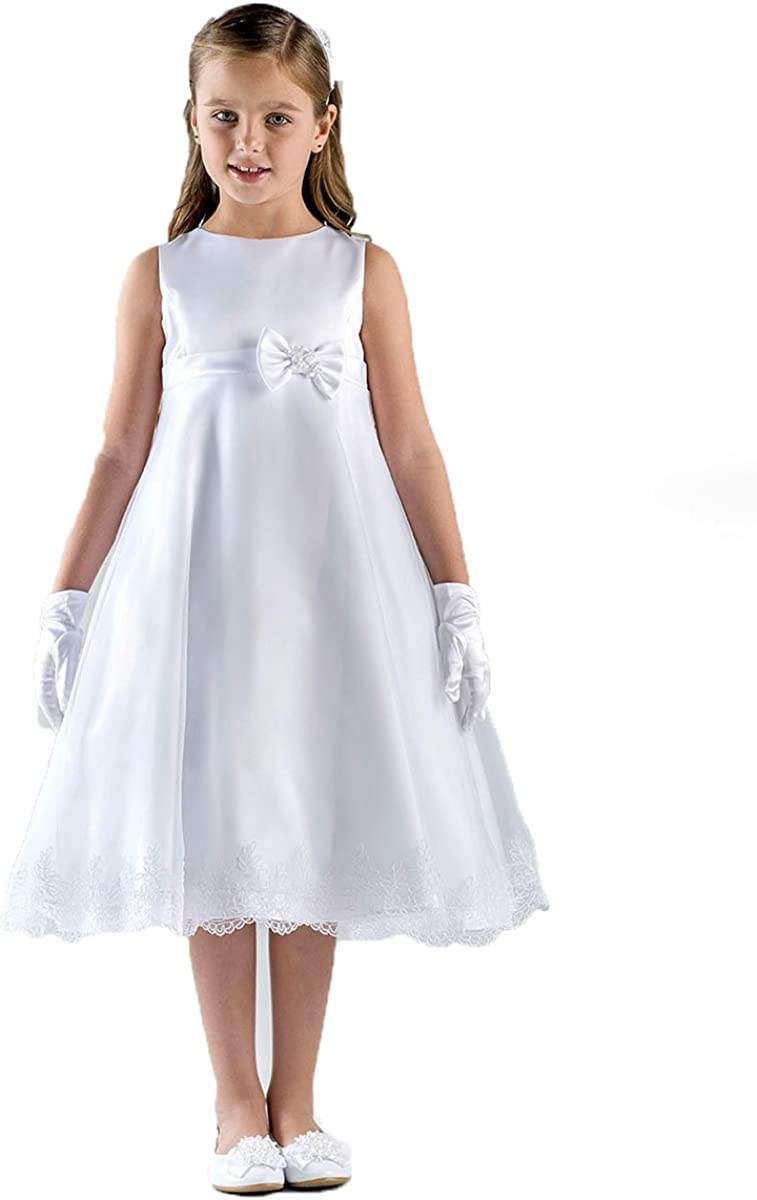 US Angels Girls First Communion Dress White - Sleeveless A-Line Lace Trimmed Hem Style 357