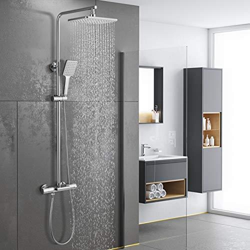 Duschsystem mit Thermostat Mischer, WOOHSE Regendusche mit Armatur Badewanne Wasserfall, Duscharmatur Set mit Duschkopf Eckig, Handbrause und Verstellbare Duschstange für Badezimmer