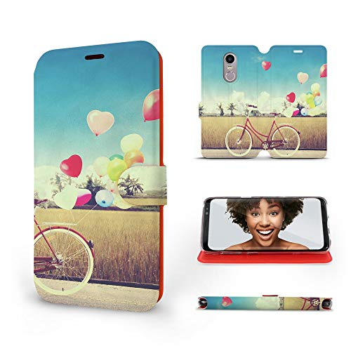 Mobiwear | Slim FLIP Hülle | Kompatibel mit Lenovo K6 Note, Made in EU handyhülle, Premium Schutzhülle, Transparent TPU Silicon, Book Style Hülle, Tasche - Radfahr & Bunte Luftballons