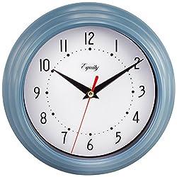 Equity by La Crosse 25014 Round Plastic Analog Wall Clock, 8, Slate Blue