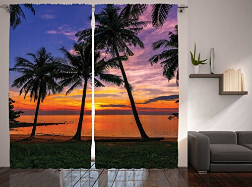 """Ambesonne Tropical Curtains, Exotic Palm Trees Pattern with Beach and Ocean Sunset in Hawaii Summer Season, Living Room Bedroom Window Drapes 2 Panel Set, 108"""" X 90"""", Blue Purple"""