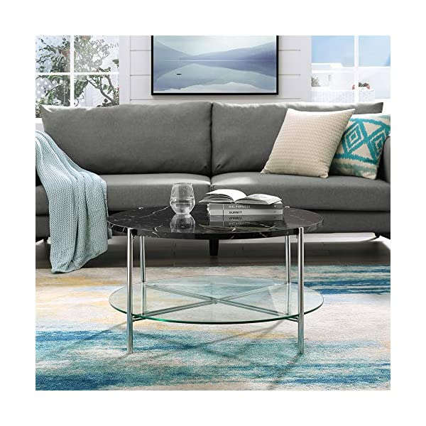 Walker Edison Furniture Company Modern Round Coffee Accent Table Living Room