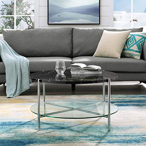 Walker Edison Furniture Modern Side End Accent C Table Living Room, 20 Inch, Walnut Brown, Gold