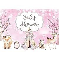 Allenjoy 冬用 ピンク 森林 サファリ 動物 ボヘミアン 背景 ベビーシャワー 小さな女の子が道中 ウェルカムパーティー デコレーション ライト グリッター 写真背景 7x5フィート 写真ブース小道具 バナー