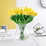 PU Real Touch Tulips Artificial Flowers 10 Pcs Flowers Arrangement Bouquet for Home Office Wedding Decoration (Yellow)