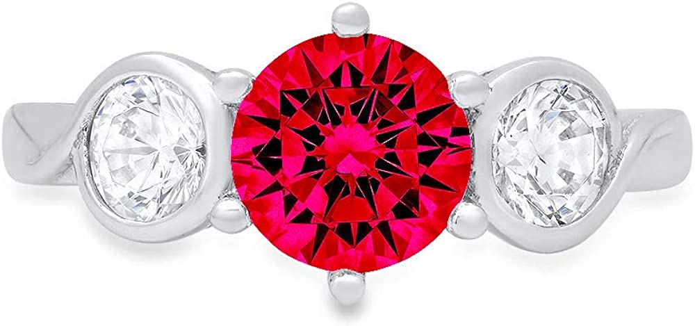 1.79ct Brilliant Round Cut 3 stone Solitaire Flawless Ideal VVS1 Simulated CZ Red Ruby Engagement Promise Statement Anniversary Bridal Wedding with accent Designer Ring 14k White Gold