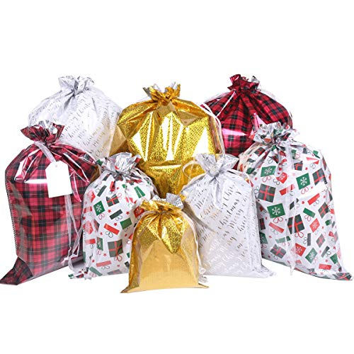 Christmas Bags,32Pcs Santa Wrapping Bag in 4 Sizes and 4 Designs with Inserted Drawstring Ribbons...