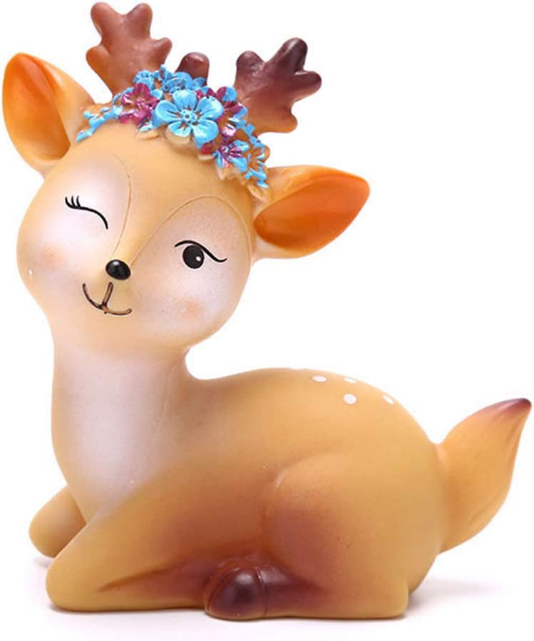 DAWEIF 1pcs Animal Deer Figurine Miniatures Fairy Garden Ornament Craft Cute Cake Topper Decoration for Birthday Wedding Anniversary(C)