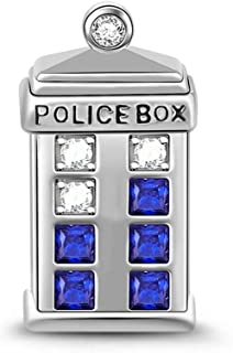 Gnoce Doctor Who Police Box Time Machine Tardis Charm Bead 925 Sterling Silver