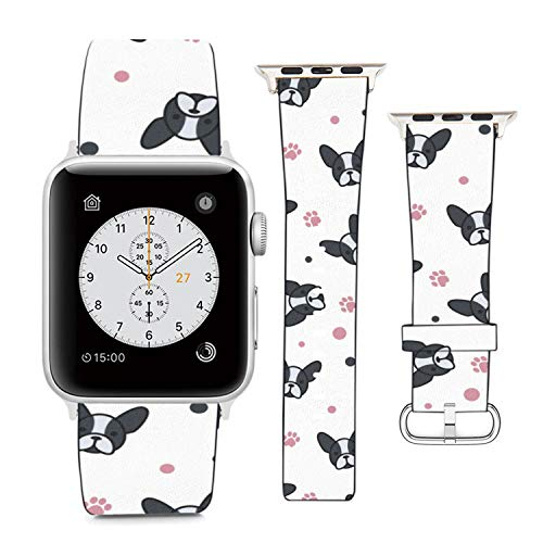 Compatible with Apple Watch Wristband 42mm 44mm , (French Bulldog) PU Leather Band Replacement Strap for iWatch Series 5 4 3 2 1