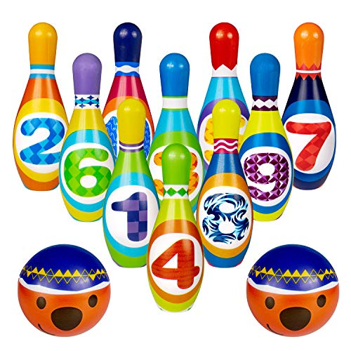ZWOOS Kinder Bowling Set, Kegelspiel Spiel enthält 10 Kegel und 2 Bälle, für Kinder ab 36 Monaten