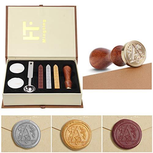 PUQU - Juego de sellos de cera con letras iniciales vintage de la A a la Z. Caja de regalo de sellos de cera., A