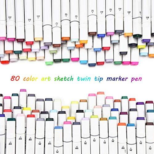 80 color Arte Marker Pen Set,Marcadores de Doble Punta,para interior,paisaje,animación, producto,industria,construcción,medio ambiente,Touch cinco,Polo negro