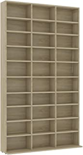 vidaXL CD Cabinet Storage Rack Display Shelf Bookshelf Bookcase Stand Book Multimedia DVD Organiser Living Room Office Col...
