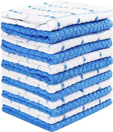 Utopia Towels Kitchen Towels, 15 x 25 Inches, 100% Ring Spun Cotton Super Soft and Absorbent Blue Dish Towels, Tea Towels and Bar Towels, (Pack of 12)