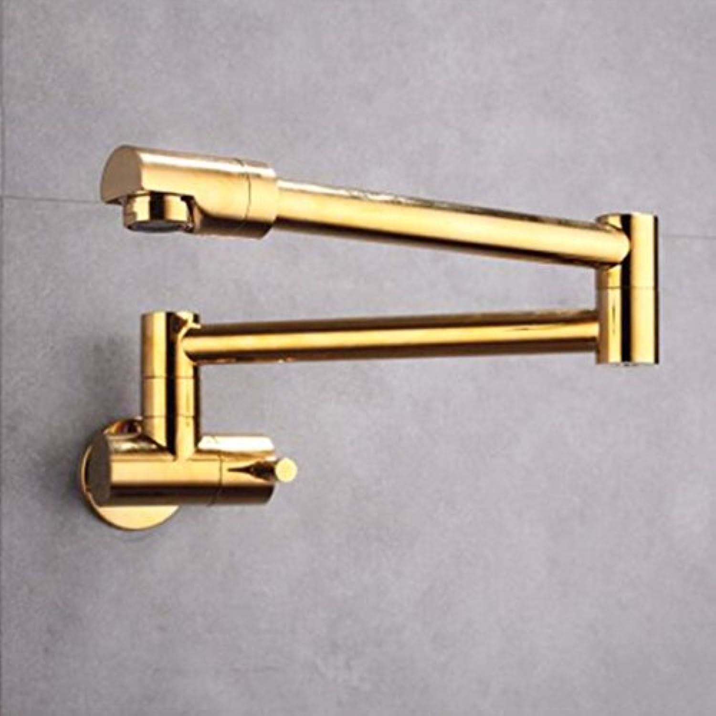 Bijjaladeva Wasserhahn Bad Wasserfall Mischbatterie Waschbecken WaschtischDas Kupfer in der Wand montiert Single Kalte Küche klappbarer Wasserhahn Spülen Waschbecken Armatur Gold