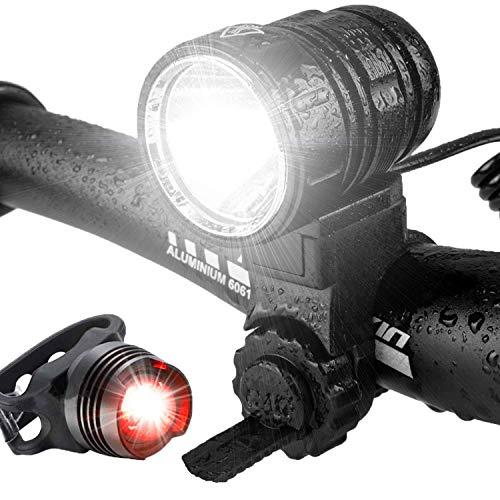 Luz Bicicleta, LED Luces Delantera de Bicicleta USB Recargable Super Brillante 1200 Lúmenes Lámpara de Bicicleta de Liberación Rápida con Luz Trasera Incluida