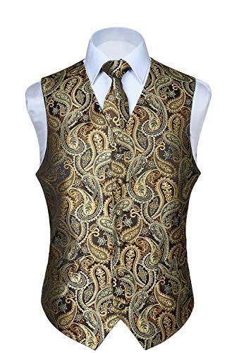 Hisdern Manner Paisley Floral Jacquard Weste & Krawatte und Einstecktuch Weste Anzug Set, Gold, Gr.-3XL (Brust 54 Zoll)