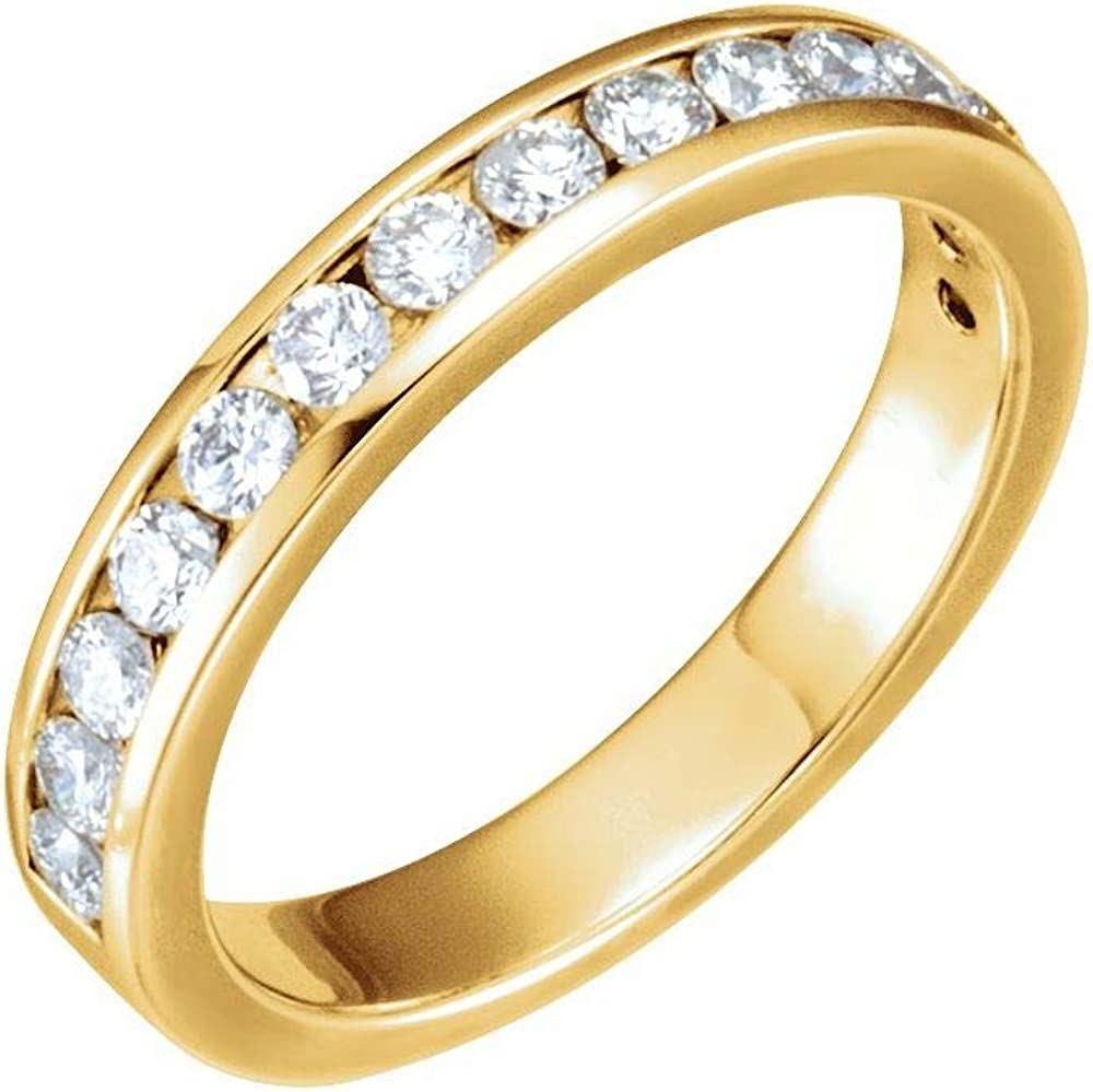 Solid 14k Yellow Gold 1 2 Band Diamond Ring Cttw .50 free 2021 new