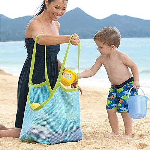 Bolsa de malla Vi.yo de arena grande, ideal para guardar juguetes infantiles, juguetes, bolsas de playa u otros artículos de playa, azul-E001