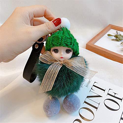 jieGorge Decoración y Colgantes, Cute Furs Pompom Baby Dolls Llaveros Llaveros Bolsa Charm Colgante, para el Día de San Valentín (F)