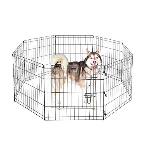 """Pet Trex 24"""" Exercise Playpen for Dogs Eight 24"""" x 24"""" High Panels with Gate"""