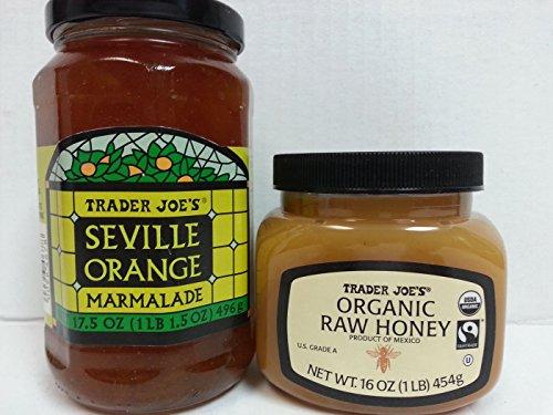 Trader Joes Organic Raw Honey & Seville Orange Marmalade Bundle